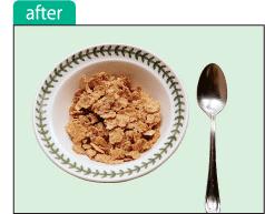 切抜きをして背景を差し替えたコーンフレークとお皿、スプーンの画像